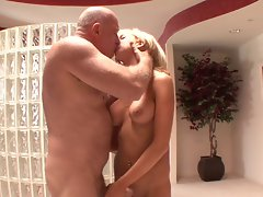 Tempting blonde shagged by elder man
