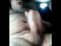 Hirsute straight experienced bear covers his chest and belly in cum