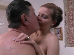 young, blond & top heavy hussy for obese older man