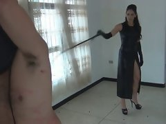 bare slave whipped by charming mistress