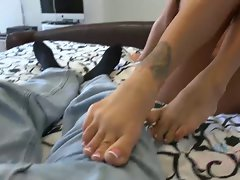 Sabrina comes for seconds. This time a footjob and cock sucking