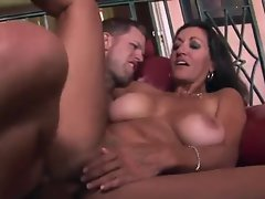 Luscious tanned slutty mom rides younger shaft