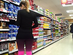 Narrow supermarket spandex butts