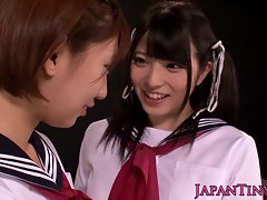 Wee asian schoolgirls luxuriate lezzy love with squirting