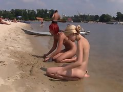 Nice looking fresh faced sizzling teen plays at the beach naked