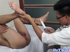 Ethnic doctor barebacks twink after enema