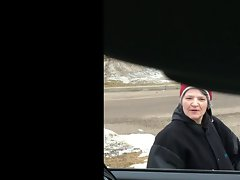 car flash - Aged young lady can't stop staring