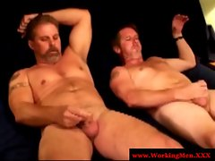 Straight truck driver stroking prick as he goes gay for pay
