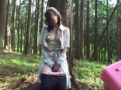 Subtitled Uncensored Seductive japanese cougar Mana Funaki in Forest HD