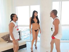 Marvelous Asian shemale receives two huge pecker