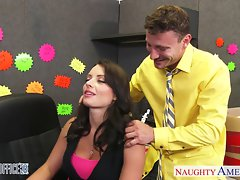 Dark haired Kayla West receive pecker in the office