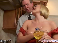 Chesty slutty wife Krissy Lynn slurping cum in the kitchen