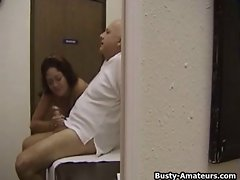 Big titted Drew fellatio aged man's shaft
