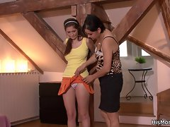 Tied up lady is used by his lesbo mama