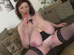 Superb big titted slutty mom with hirsute vagina