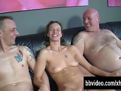 Tattooed german hussy gets double screwed