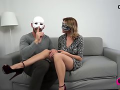 Cougar plays with her husband and big rubber toys