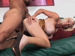 Skanky-ass' mommy rides a black prick