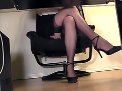 Sexual Filthy Secretary Upskirt Stockings Under Desk