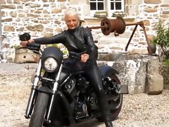 Attractive leather granny biker