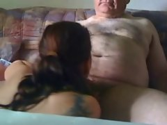 19 years old Gal Licking Off an Older Man