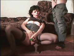 Black stockings slutty girl dick sucking and horny fuck