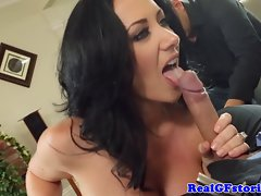 Cuckolding big titted mature whore demonstrates oral skills