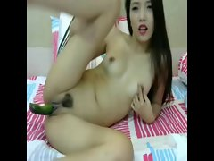 Chinese amateur whore muff insert favorite cucumber