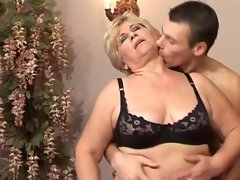 Bony Blond 50+ with 19yo man in bed
