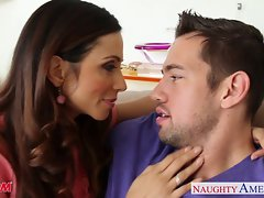 Excellent mamma Ariella Ferrera gets nailed on the couch