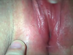 Closeup clit masturbation