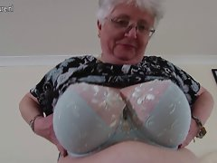 Big breasted English granny playing with herself