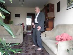 Dapper older man with extremely huge shaft