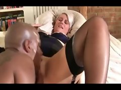 Silver-haired English Mommy banged by a BBC