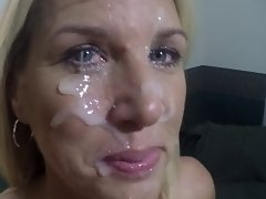 Facial for my cum enjoying dirty wife