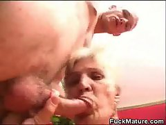 Banged Experienced Honey Jizzed With Her Dentures