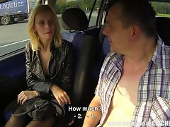 Tempting blonde Street Hussy Fucked in Car
