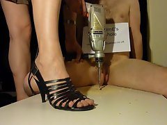 Brutal shaft crush footjob with strappy high heels (shoejob)