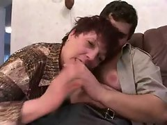 Sensual russian Stepmom seduces young man cleaner aquariums