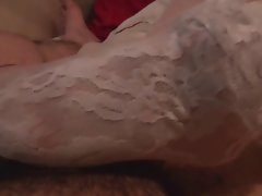 My fuck partner foot job and white lacy socks stockings