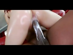 20 years young woman Leah Cortez riding black monster dick