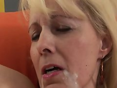 Blond Granny Bangs Ebony Prick