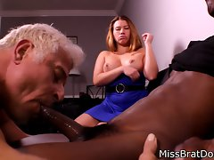 Bisexual Husband Strokes Black Prick for Femdom Dirty wife