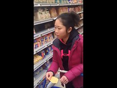 Puny asian butt shopping in Legging