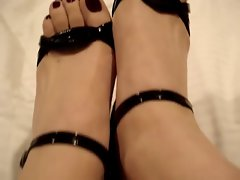 Sexual black platform high heels in panties