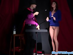Experienced squirting cougar fucked by magician