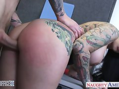 Big titted tattooed Darling Danika fuck in the office