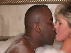 Dirty wife in hottub with two ebony lovers