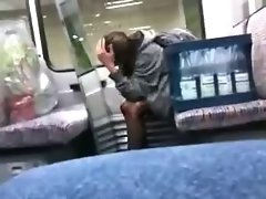 caught wild sizzling teen masturbate on train