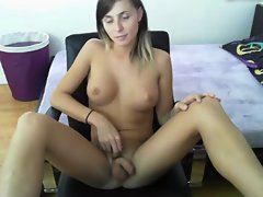 Solo Dark haired T-Girl Sienna Grace Playing With Her Penis